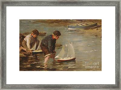 Starting The Race Framed Print by William Marshall Brown