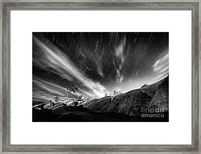 Startrails Over Badlands Framed Print by Charline Xia