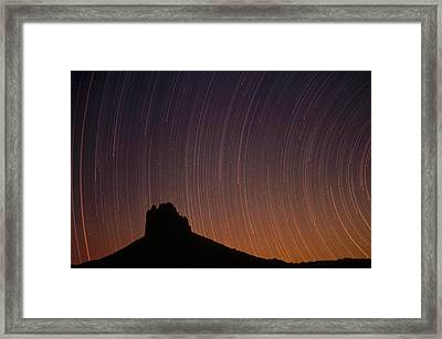 Startrails Over Shiprock In The Four Framed Print by Tim Fitzharris