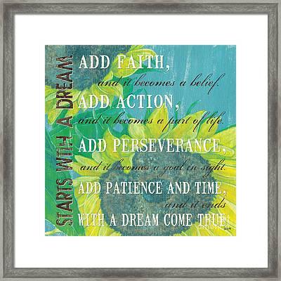 Starts With A Dream Framed Print by Debbie DeWitt