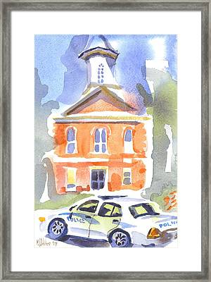 Stately Courthouse With Police Car Framed Print by Kip DeVore