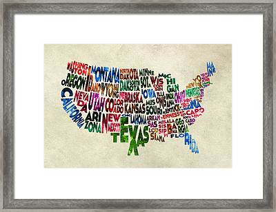 States Of United States Typographic Map - Parchment Style Framed Print by Ayse Deniz