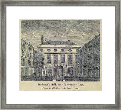 Stationer's Hall Near Paternoster Row Framed Print by British Library