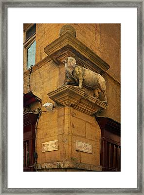 Statue At Rue Du Boeuf In Old Lyon Framed Print by Carla Parris