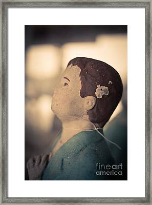 Statue Of A Boy Praying Framed Print by Edward Fielding
