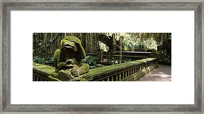 Statue Of A Monkey In A Temple, Bathing Framed Print by Panoramic Images