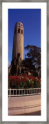 Statue Of Christopher Columbus In Front Framed Print by Panoramic Images