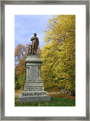 Statue Of Daniel Webster - Central Park Framed Print by Allen Beatty