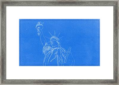 Statue Of Liberty Blueprint Framed Print by Celestial Images