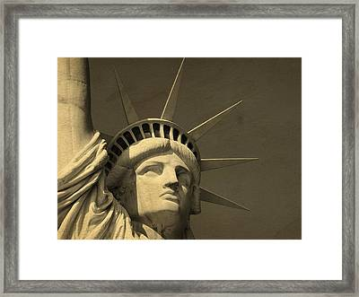 Statue Of Liberty Closeup  Framed Print by Dan Sproul