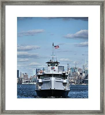 Statue Of Liberty Ferry Framed Print by Dan Sproul