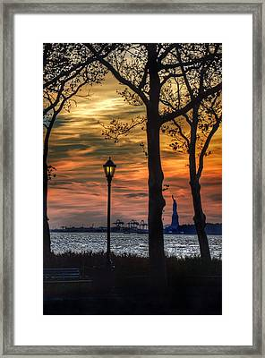 Statue Of Liberty From Battery Park Framed Print by Marianna Mills