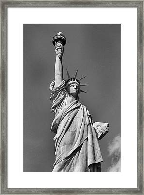 Statue Of Liberty In Black And White Framed Print by Dan Sproul
