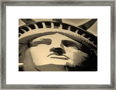 Statue Of Liberty In Sepia Framed Print by Rob Hans
