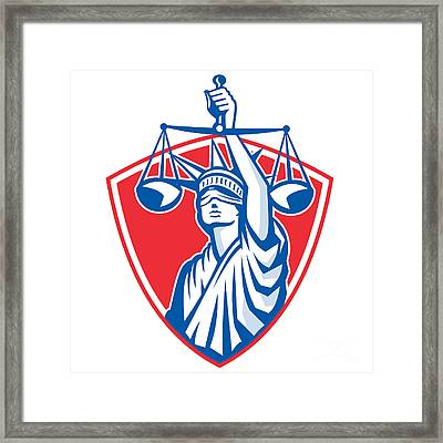 Statue Of Liberty Raising Justice Weighing Scales Retro Framed Print by Aloysius Patrimonio