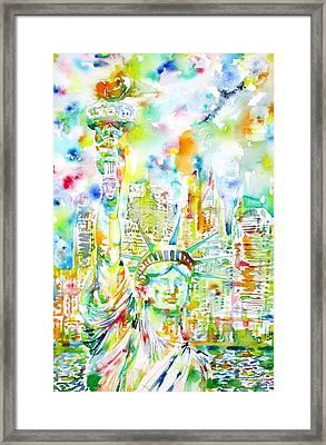 Statue Of Liberty - Watercolor Portrait Framed Print by Fabrizio Cassetta