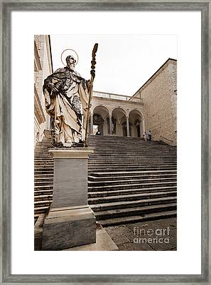 Statue Of Saint Benedict At Monte Cassino Abbey Framed Print by Peter Noyce