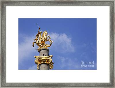 Statue Of St George And The Dragon In Tbilisi Framed Print by Robert Preston