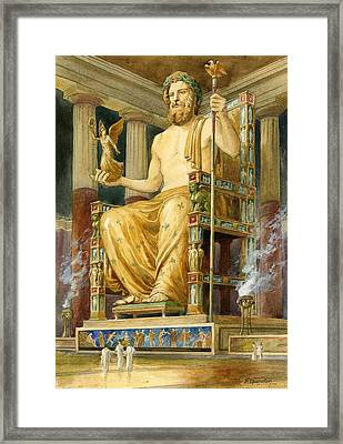 Statue Of Zeus At Oympia Framed Print by English School