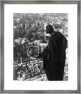 Statue Overlooking Dresden, Germany Framed Print by Everett