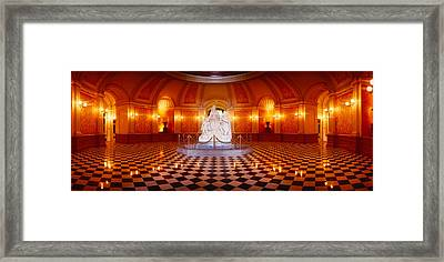 Statue Surrounded By A Railing Framed Print by Panoramic Images