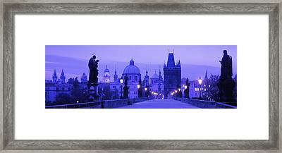 Statues Along A Bridge, Charles Bridge Framed Print by Panoramic Images