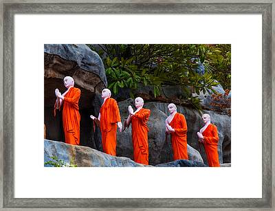 Statues Of The Buddhist Monks At Golden Temple Framed Print by Jenny Rainbow