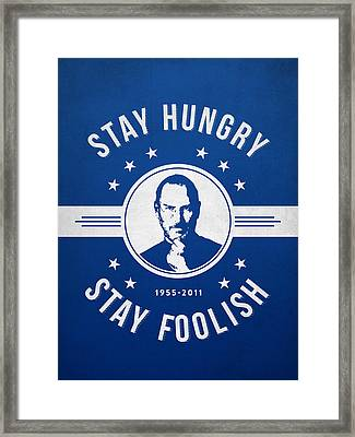 Stay Hungry Stay Foolish - Ice Blue Framed Print by Aged Pixel