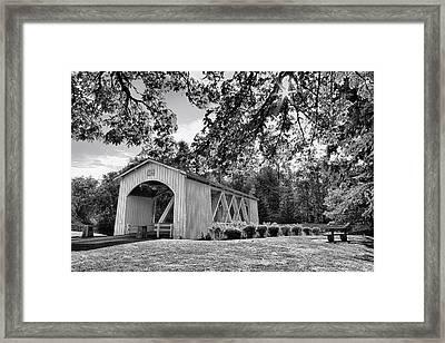 Stayton-jordan Covered Bridge Black And White Framed Print by Mark Kiver