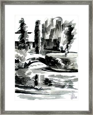 Ste Marie Du Lac Pond And Parish Framed Print by Kip DeVore