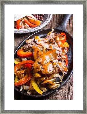 Steak Fajitas Framed Print by Edward Fielding