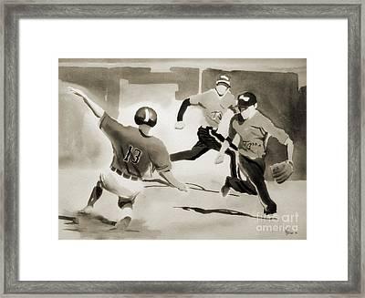 Stealing Second Bw Framed Print by Kip DeVore