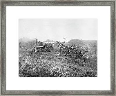 Steam Ploughing Machine Framed Print by Library Of Congress