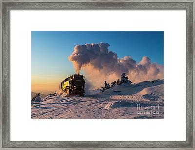 Steam Train At Sunset Framed Print by Christian Spiller