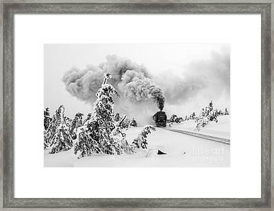 Steam Train On Brocken Mountain Framed Print by Christian Spiller