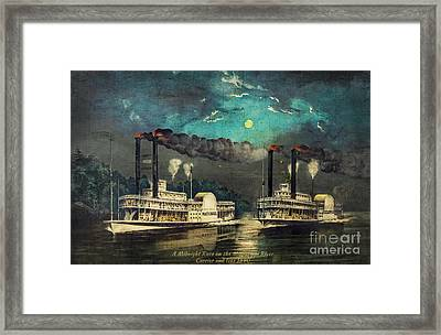 Steamboat Racing On The Mississippi Framed Print by Lianne Schneider