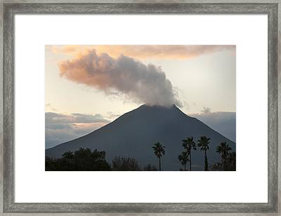 Steaming Volcano At Sunset Mount Framed Print by Kevin Schafer