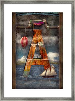 Steampunk - Alphabet - A Is For Adventure Framed Print by Mike Savad