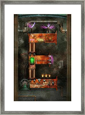 Steampunk - Alphabet - E Is For Electricity Framed Print by Mike Savad