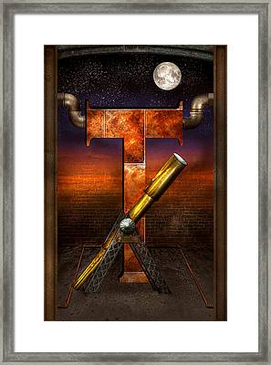 Steampunk - Alphabet - T Is For Telescope Framed Print by Mike Savad