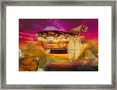Steampunk - Blimp - Everlasting Wonder Framed Print by Mike Savad