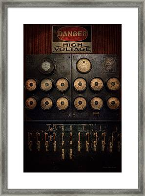 Steampunk - Electrical - Center Of Power Framed Print by Mike Savad