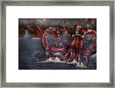 Steampunk - Enteroctopus Magnificus Roboticus Framed Print by Mike Savad