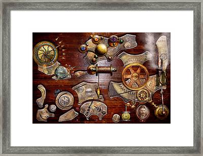 Steampunk - Gears - Reverse Engineering Framed Print by Mike Savad