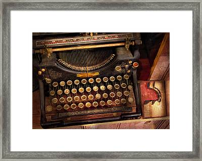 Steampunk - Just An Ordinary Typewriter  Framed Print by Mike Savad