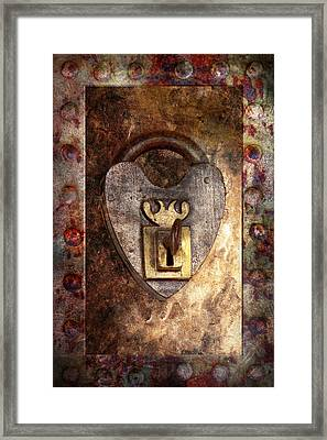 Steampunk - Locksmith - The Key To My Heart Framed Print by Mike Savad