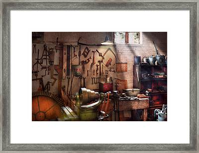 Steampunk - Machinist - The Inventors Workshop  Framed Print by Mike Savad