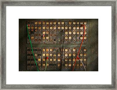 Steampunk - Phones - The Old Switch Board Framed Print by Mike Savad