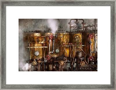 Steampunk - Plumbing - Distilation Apparatus  Framed Print by Mike Savad
