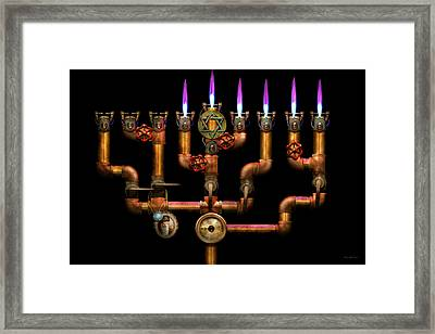 Steampunk - Plumbing - Lighting The Menorah Framed Print by Mike Savad